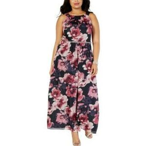 SLNY Womens Plus Floral Embellished Evening Dress